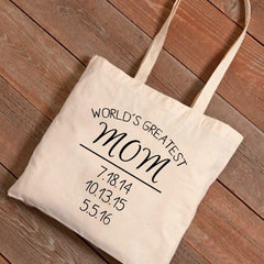 Personalized Tote Bags - World's Greatest Mom - Mother's Day Gifts