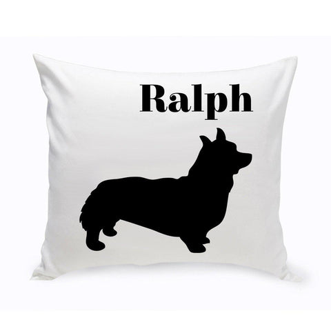 Monogrammed Dog Throw Pillow -  Classic Silhouette - Corgie - Pet Gifts - AGiftPersonalized