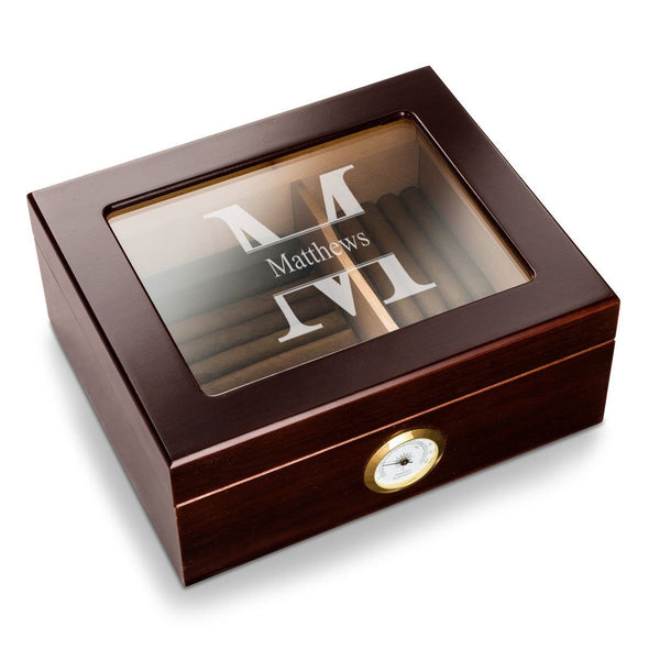 Personalized Humidor - Glass Top - Mahogany - Stamped - JDS