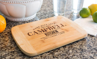 Personalized 8.5x11 Bamboo Cutting Board with Rounded Edge (Modern Collection) -  - Qualtry