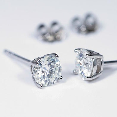 Moissanite Earrings (1 Carat Total Weight) -  - Qualtry