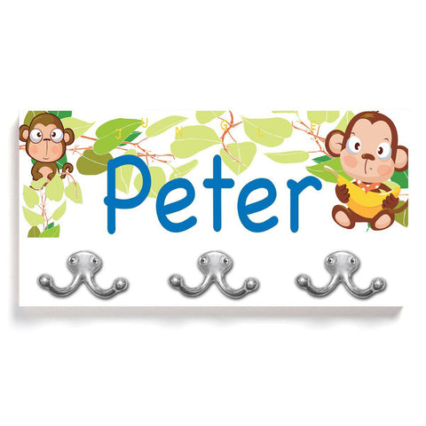 Personalized Children's Coat Hanger - Monkey Business with Black Edge -