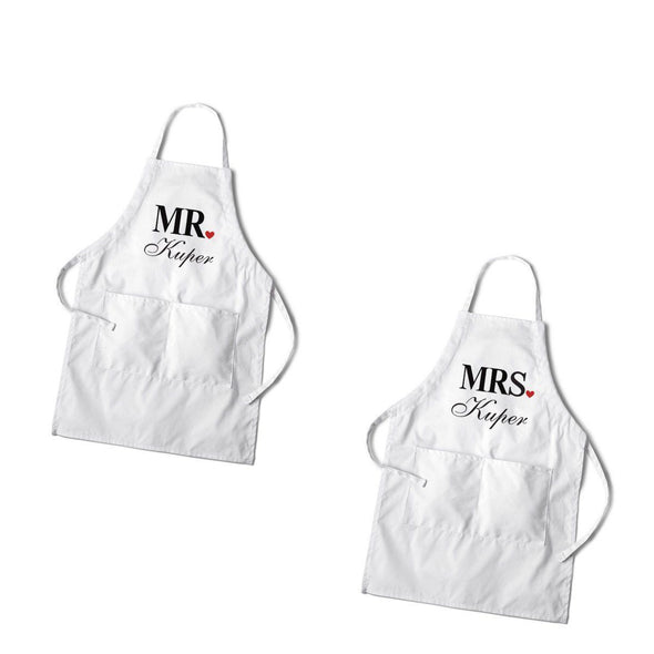 Personalized Couples White Apron Set - MrandMrs - JDS