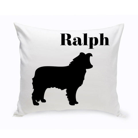 Monogrammed Dog Throw Pillow -  Classic Silhouette - BorderCollie - Pet Gifts - AGiftPersonalized