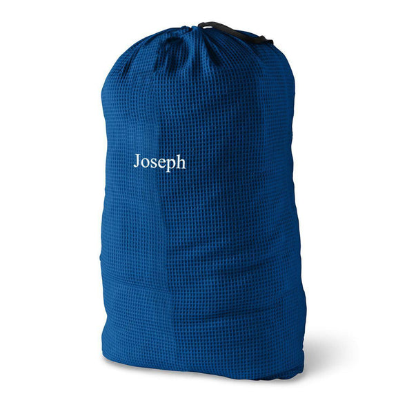 Personalized Waffle Knit Laundry Bags - Navy Blue - JDS