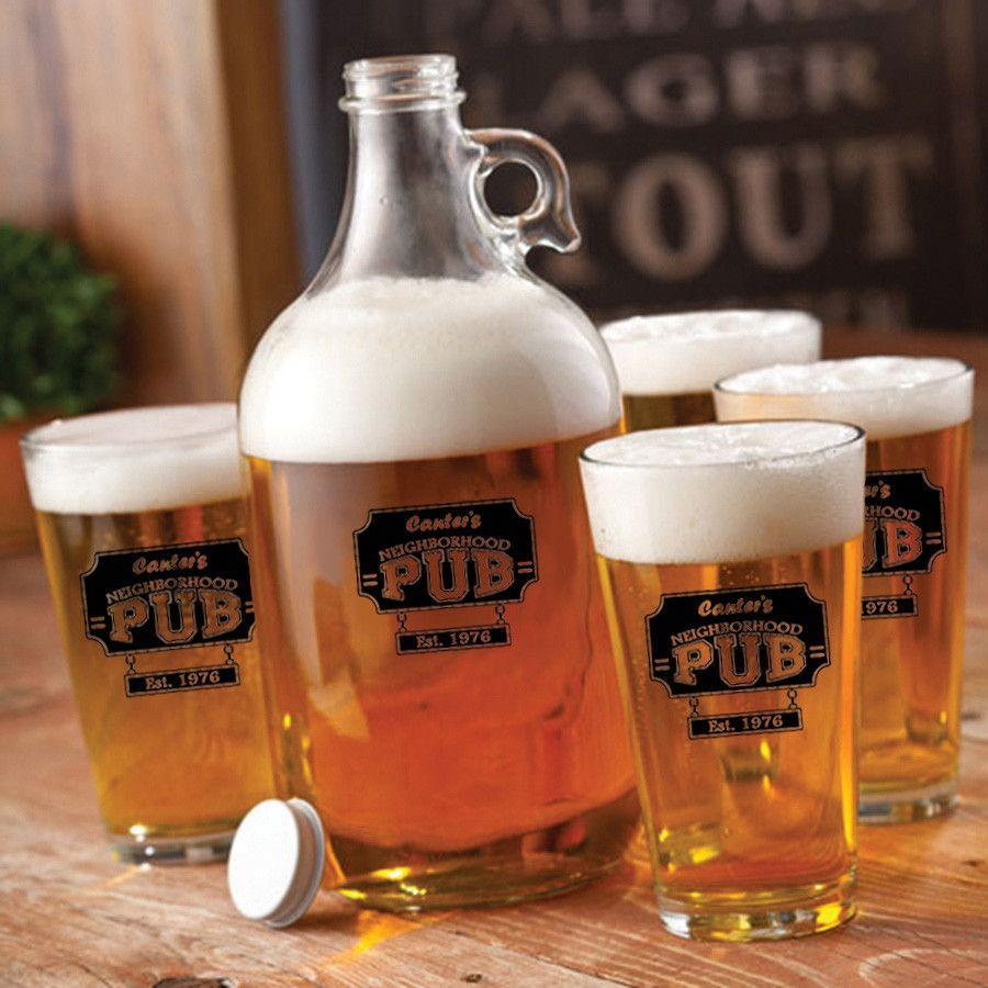 Personalized-Glass-Beer-Growler-and-Pint-Glass-Set