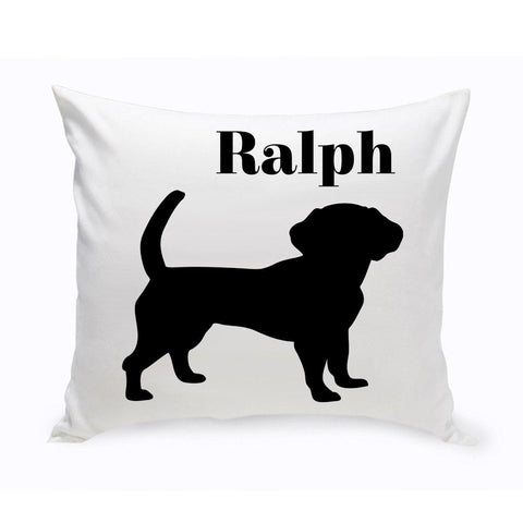 Monogrammed Dog Throw Pillow -  Classic Silhouette - Beagle - Pet Gifts - AGiftPersonalized