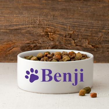 Personalized Small Dog Bowl - Happy Paws - Purple - JDS