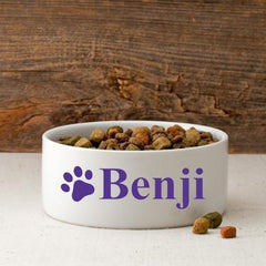 Personalized Small Dog Bowl - Happy Paws - Purple - Pet Gifts - AGiftPersonalized
