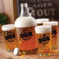 Personalized Growler - 4 Pint Glasses - Growler Set - 64 oz. - BottleTop - Personalized Barware - AGiftPersonalized