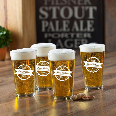 Personalized Pub Glass Set - Set of 4 - Initial