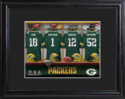 Personalized NFL Locker Sign w/Matted Frame - All Teams - Packers - Professional Sports Gifts - AGiftPersonalized