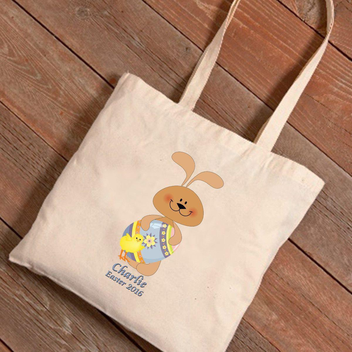 Personalized Easter Canvas Bag - Pastel Bunny