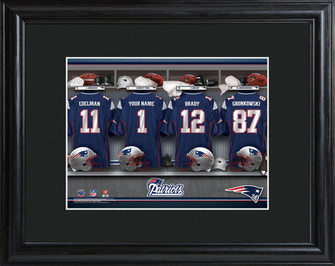 Personalized NFL Locker Sign w/Matted Frame - All Teams - Patriots - Professional Sports Gifts - AGiftPersonalized