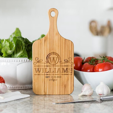 Personalized Handled Bamboo Serving Boards (Modern Collection)- Small -  - Qualtry