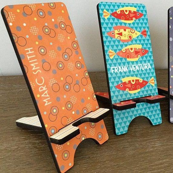 Personalized Cell Phone Stands - Aqua Pattern -  - Qualtry