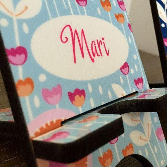 Personalized Cell Phone Stands - Flowers Pattern -  - Qualtry