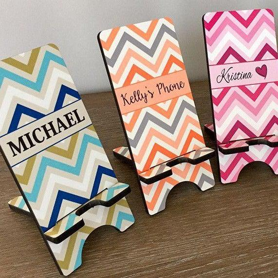 Personalized Cell Phone Stands - Chevron Pattern