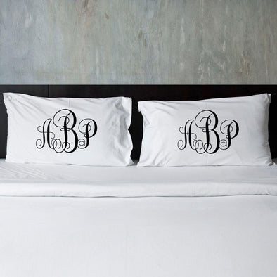 Personalized Interlocking Monogram Pillow Cases for Couples -  - JDS