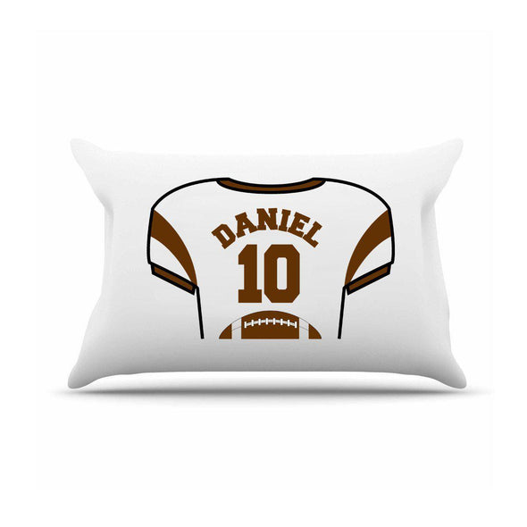 Personalized Kids Sports Jersey Pillowcase - Brown - JDS