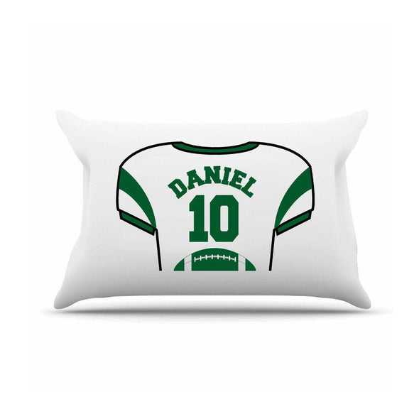 Personalized Kids Sports Jersey Pillowcase - Dark Green - JDS