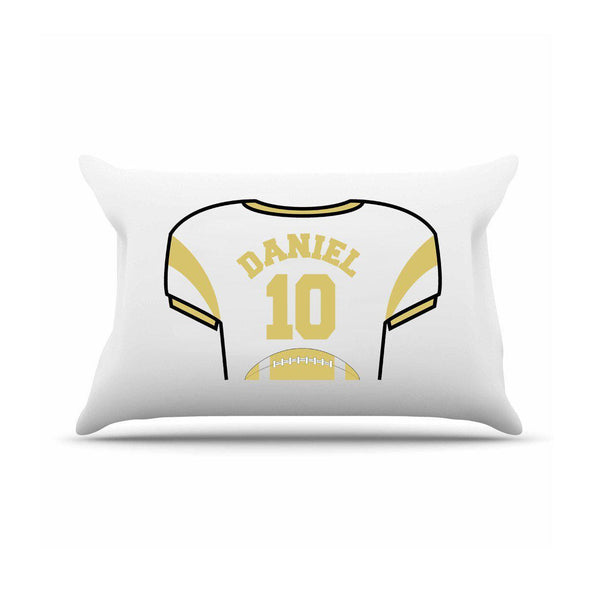 Personalized Kids Sports Jersey Pillowcase - Gold - JDS