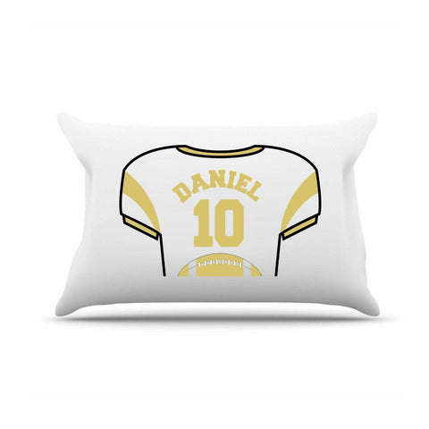 Personalized Kids Jersey Pillow Case - Gold - Gifts for Kids - AGiftPersonalized
