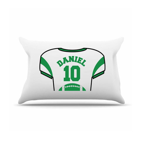 Personalized Kids Jersey Pillow Case - Green - Gifts for Kids - AGiftPersonalized
