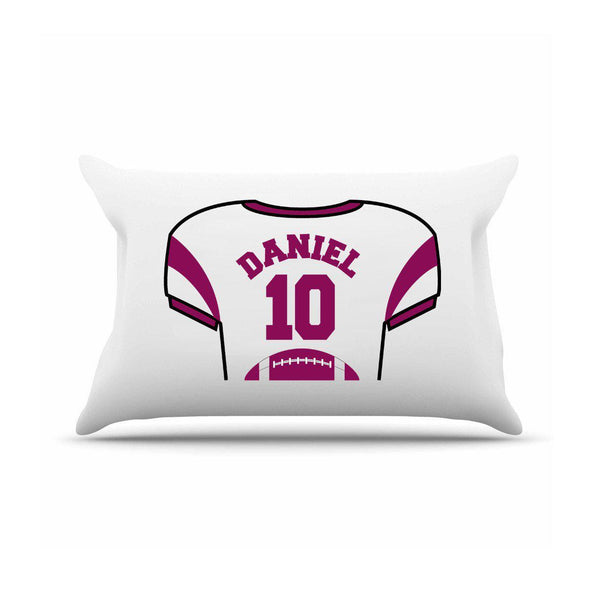 Personalized Kids Sports Jersey Pillowcase - Maroon - JDS