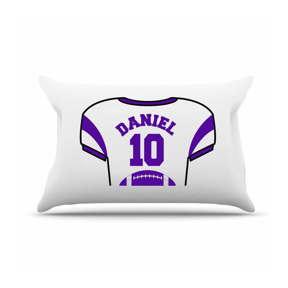 Personalized Kids Sports Jersey Pillowcase - Purple - JDS