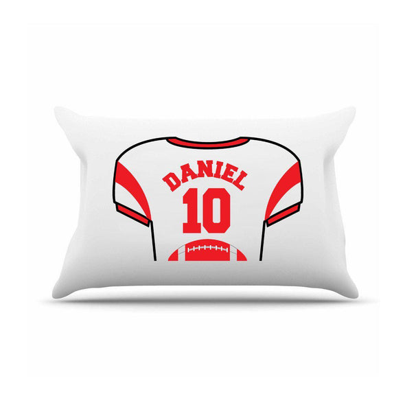 Personalized Kids Sports Jersey Pillowcase - Red - JDS