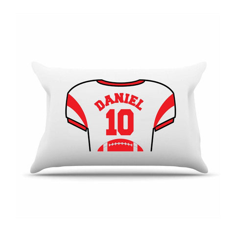 Personalized Kids Jersey Pillow Case - Red - Gifts for Kids - AGiftPersonalized