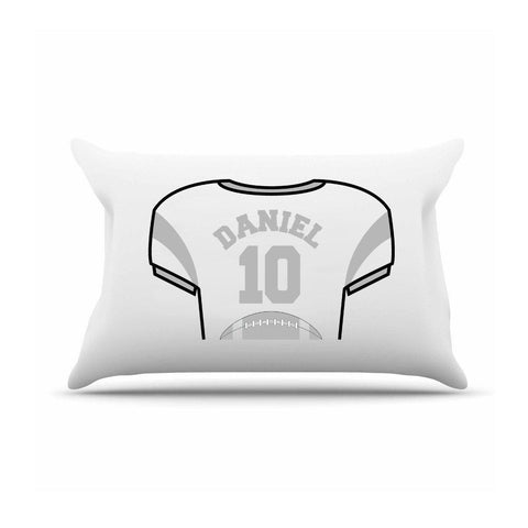 Personalized Kids Jersey Pillow Case - Silver - Gifts for Kids - AGiftPersonalized