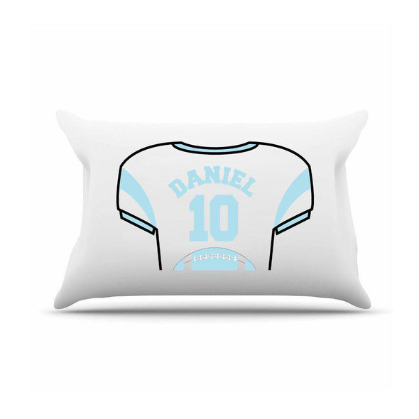 Personalized Kids Sports Jersey Pillowcase - Sky Blue - JDS