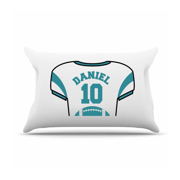 Personalized Kids Sports Jersey Pillowcase - Teal - JDS