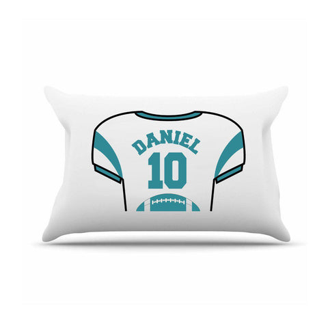 Personalized Kids Jersey Pillow Case - Teal - Gifts for Kids - AGiftPersonalized