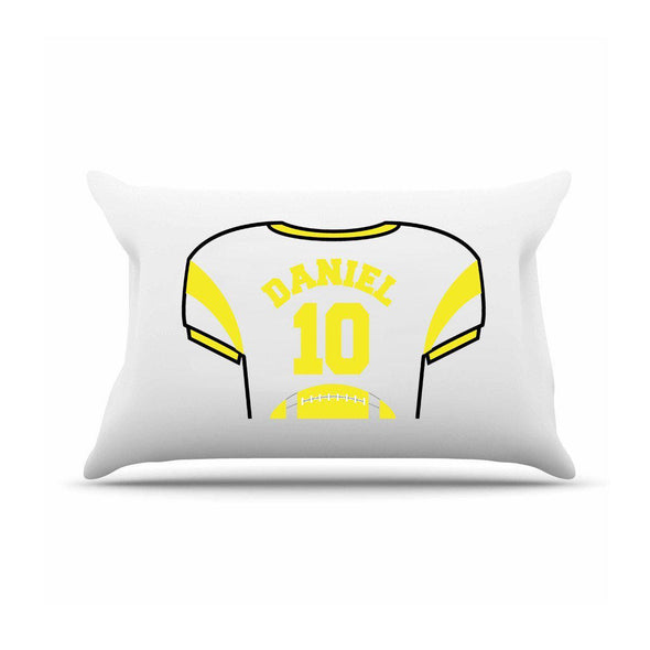 Personalized Kids Sports Jersey Pillowcase - Yellow - JDS