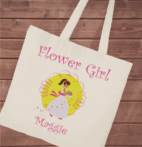 Personalized Canvas Tote - Flower Girl -  - Tote Bags - AGiftPersonalized