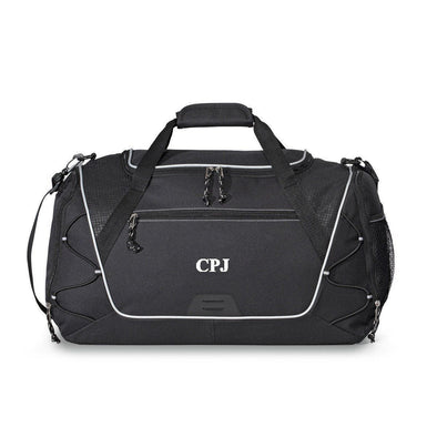 Personalized Duffle and Gym Bag - Weekend Bag - Black - JDS