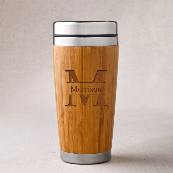 Personalized Bamboo Tumbler - Insulated - Stamped - JDS