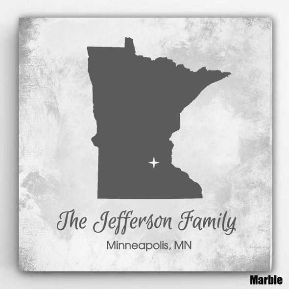 Personalized City & State Canvas Sign - Marble - JDS