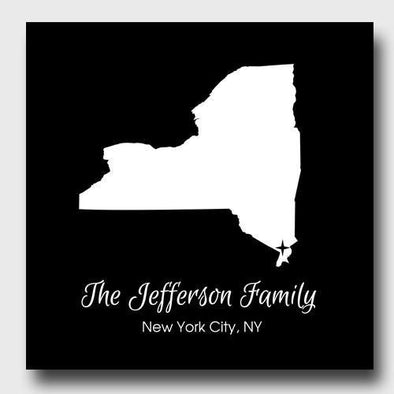 Personalized City & State Canvas Sign - Black - JDS