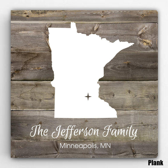 Personalized City & State Canvas Sign - Plank - JDS
