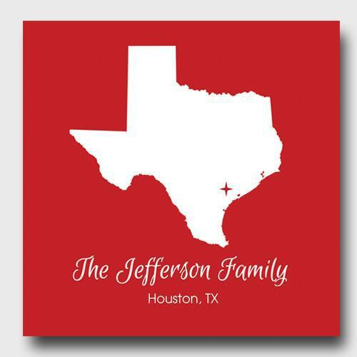 Personalized City & State Canvas Sign - Red - JDS