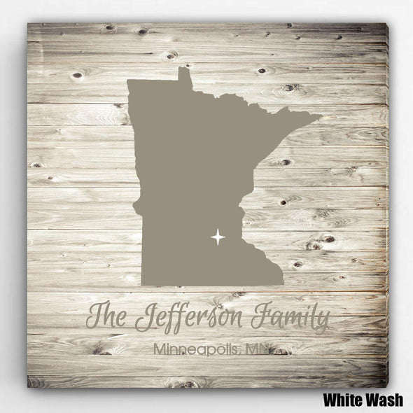 Personalized City & State Canvas Sign - WhiteWash - JDS