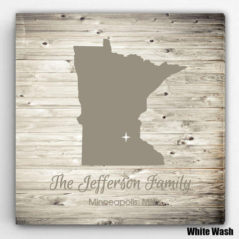 Personalized City & State Canvas Sign - WhiteWash