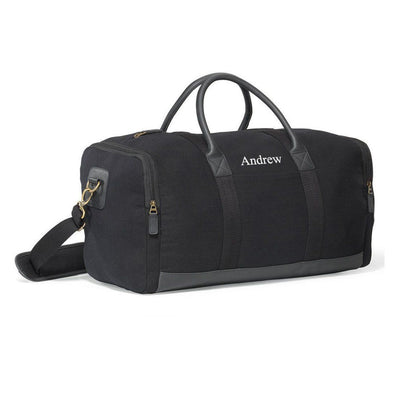 Personalized Duffel Bag - Gym Bag - Leather - Travel Bag - Black - JDS