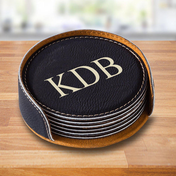 Personalized Black Round Coaster Set - 3Initials - JDS