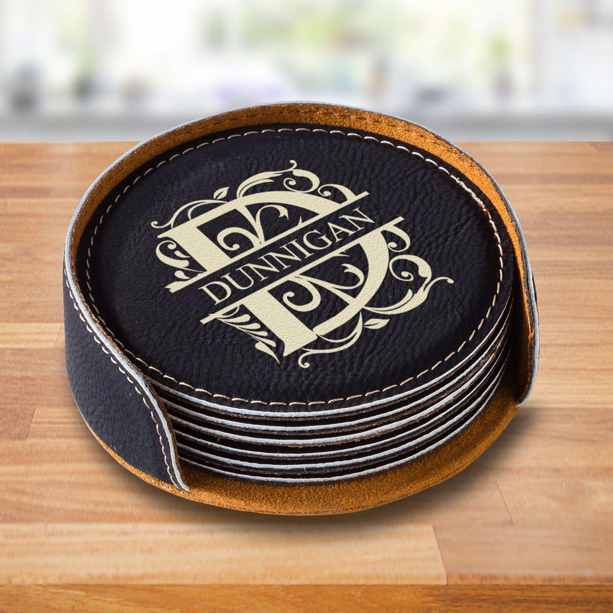Personalized Black Round Coaster Set