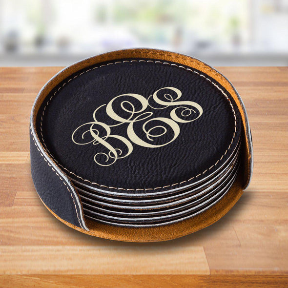 Personalized Black Round Coaster Set -  - JDS